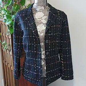 Chico's black tweed blazer w/ pastel accents Sz. M